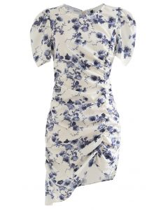 Puff Shoulder Ruched Bodycon Dress in Floral