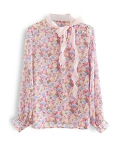 Rosebud Bowknot Glittery Semi-Sheer Top in Pink