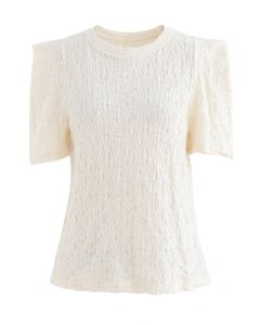 Embossed Folded Short Sleeve Top in Cream