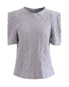 Embossed Folded Short Sleeve Top in Lavender