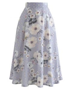 Fresh Flower Print Eyelet Embroidered Skirt