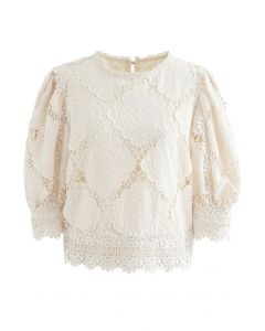 Blooming Flowers Crochet Bubble Sleeves Top in Cream
