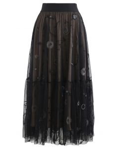 Universe Embroidery Mesh Tulle Skirt in Black
