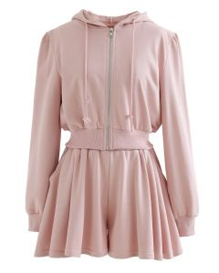 Zip Drawstring Crop Hoodie and Shorts Set in Peach