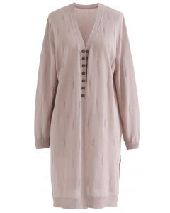 Lightsome Button Slit Hem Longline Cardigan in Dusty Pink