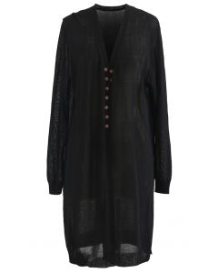 Lightsome Button Slit Hem Longline Cardigan in Black
