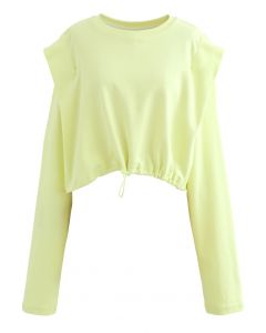 Adjustable Oversized Crop Sweatshirt in Lime