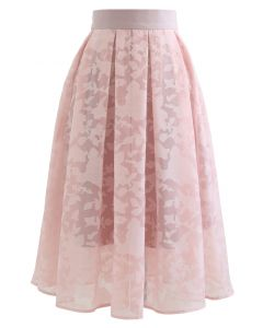 Flower Shadow Organza Pleated Skirt in Pink