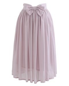 Bowknot Waist Chiffon Pleated Midi Skirt in Pink