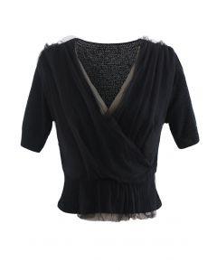 Mesh Overlay Wrap Crop Knit Top in Black