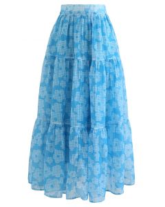 Gingham Flower Frilling Organza Skirt