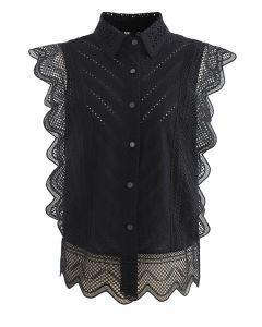Wavy Lace Eyelet Embroidered Sleeveless Shirt in Black