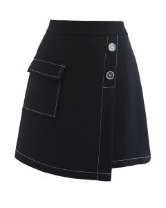 Contrast Line Buttoned Flap Mini Skirt in Black