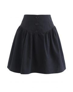 Button Trim High-Waisted Mini Skirt in Black