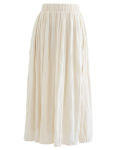 Lightweight Pleated Chiffon Skirt in Cream
