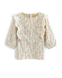 Ruffle Floret Lace Top in Mustard