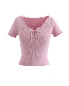 lettuce Edge Lace-Up Crop Knit Top in Pink