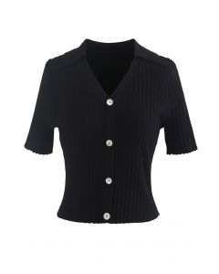 Button Down Collared Crop Top in Black