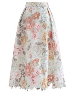 Blooming Rose Printed Full Crochet Midi Skirt