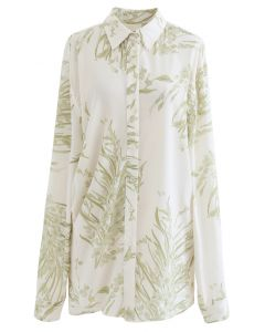 Dainty Floral Print Longline Shirt in Moss Green