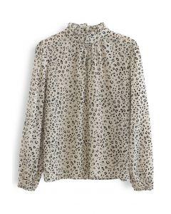 High Neck Leopard Organza Shirt