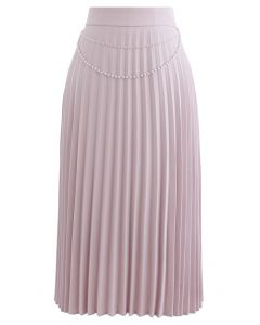 Draped Chain Pleated Midi Skirt in Pink