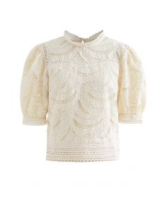 Leaves Shadow Embroidered Crochet Top in Cream