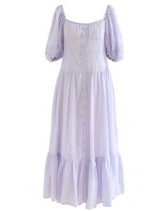 Flowy Puff Sleeves Buttoned Frilling Dress in Lilac