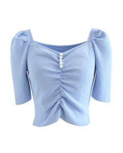 Sweetheart Neck Pearls Ruched Crop Knit Top in Blue