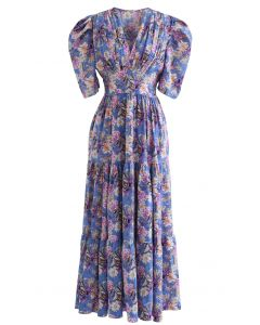 V-Neck Puff Sleeves Floral Frilling Dress in Blue