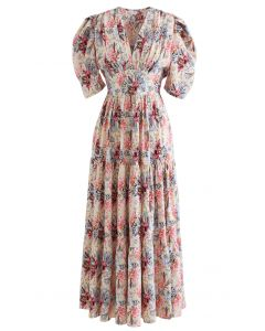 V-Neck Puff Sleeves Floral Frilling Dress in Cream