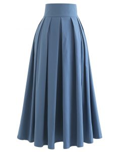 Full Pleated Cotton Midi Skirt in Blue