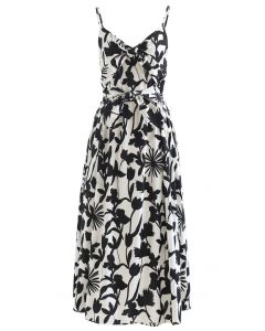 Tropical Print Knot Shirred Cami Dress in Black