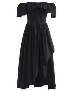 Ruffle Off-Shoulder Flap Asymmetric Dress in Black
