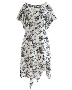 Sketch Floral Print Cold-Shoulder Asymmetric Dress