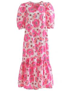 Hot Pink Blossom Bubble Sleeve Dolly Midi Dress