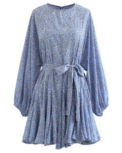 Blue Floret Bubble Sleeves Frilling Dress