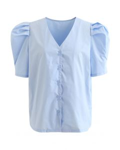 Sky Blue Puff Short Sleeve V-Neck Buttoned Top