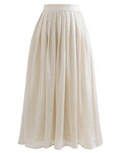 Shimmer Breeze Pleated A-Line Midi Skirt in Cream