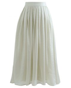 Shimmer Breeze Pleated A-Line Midi Skirt in Pea Green