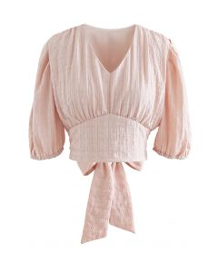 Plaid Jacquard V-Neck Tie Waist Crop Top in Pink
