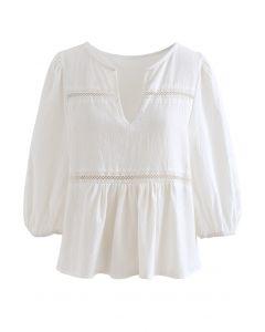V-Neck Cotton Crop Dolly Top