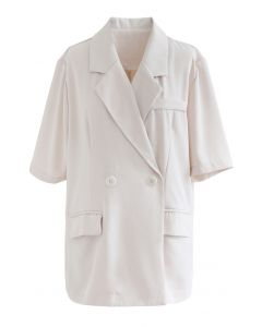 Short Sleeve Double-Breasted Blazer in Cream