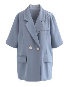 Short Sleeve Double-Breasted Blazer in Dusty Blue