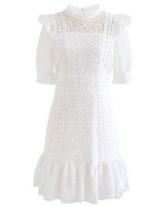 High Neck Full Crochet Mini Dress in White