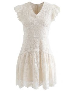 Embroidered Floral Sleeveless Mini Dress in Cream