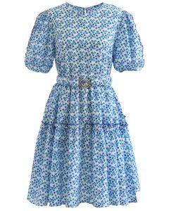 Flower Bud Embossed Ruffle Dress in Blue