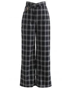 Belt Trim High Waist Plaid Pants in Black