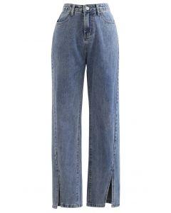 Slit Cuffs High Waist Soft Jeans in Blue