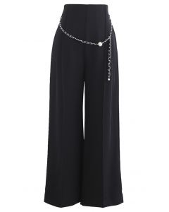 Pearly Chain Seamed Pants in Black